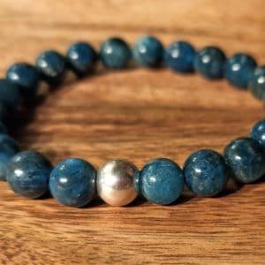 Bracelet Apatite et perle d'argent