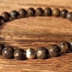 Bracelet en Bronzite dépolie et perle d'argent