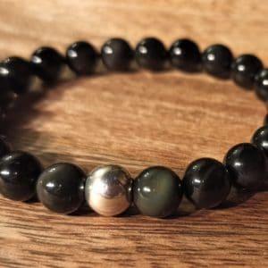 Bracelet en Obsidienne et perle d'argent
