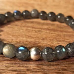 Bracelet Labadorite et perle d'argent.