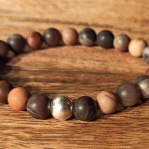Bracelet Bois Pétrifié dépoli, perle d'argent