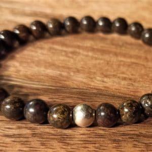 Bracelet en Bronzite et perle d'argent