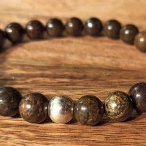 Bracelet Bronzite perle d'argent