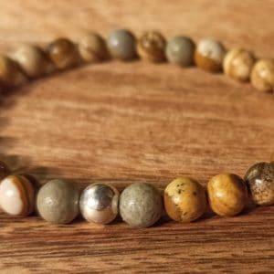 Bracelet en Jaspe Paysage poli et perle d'argent