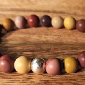 Bracelet Mokaïte perle d'argent