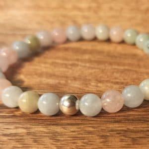 Bracelet en Morganite et perle d'argent