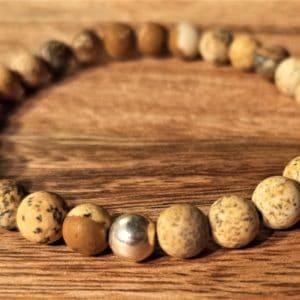 Bracelet en Jaspe Paysage dépoli, et perle d'argent