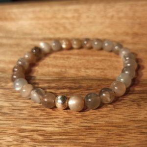 Bracelet en Pierre de Lune Adulaire et perle d'argent
