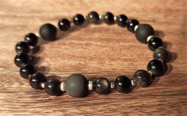bracelet shakti Obsidienne dorée et argent 925