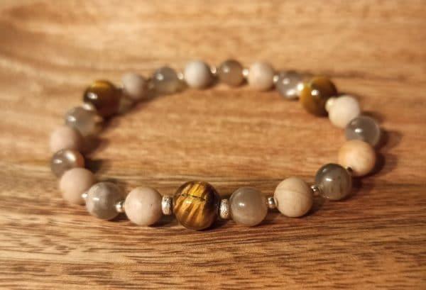 Bracelet Joie et Harmonie, Oeil de tigre, pierre de lune, pierre de soleil, argent 925