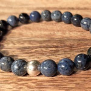 Bracelet Dumortiérite perle d'argent