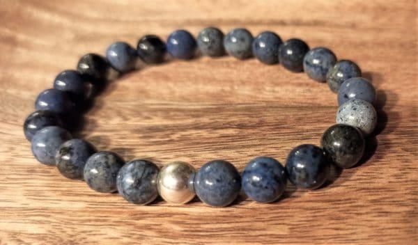 Bracelet Shiva pour Homme, Dumortiérite argent