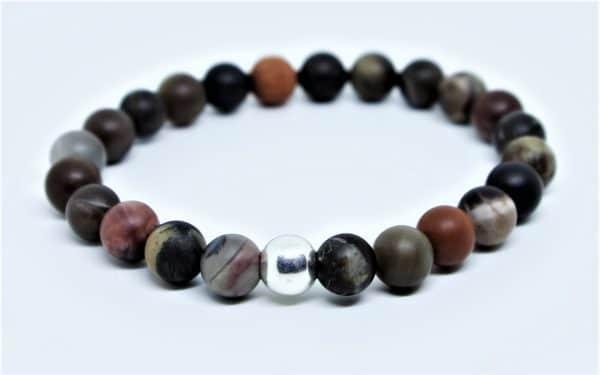 Bracelet Bois fossile, perle d'argent