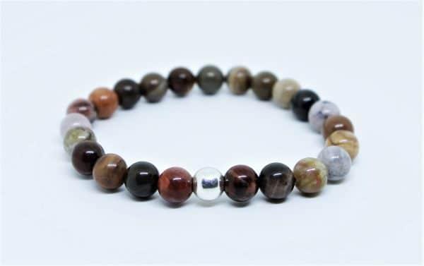 Bracelet Bois Fossile perle d'argent