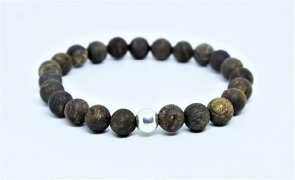 Bracelet bronzite dépolie perle d'argent
