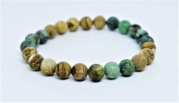 Bracelet Homme Jaspe paysage et turquoise africaine