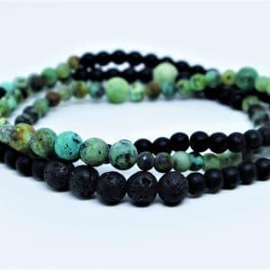 Bracelet Wrap triple Turquoise Africaine Onyx