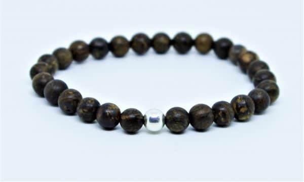 Bracelet Bronzite dépolie et perle d'argent