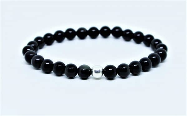 Bracelet Obsidienne Perle d'Argent