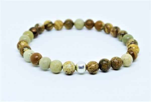 Bracelet en Jaspe Paysage Et perle d'argent