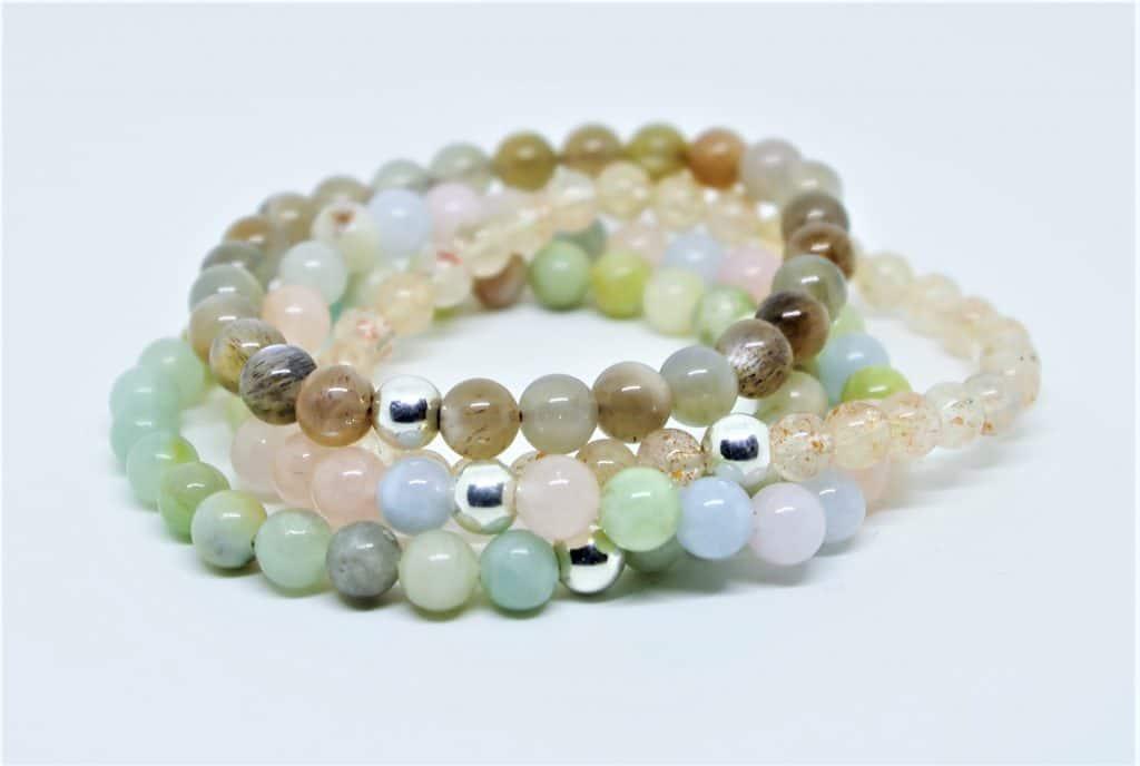 Bracelets pierres naturelles et perle d'argent