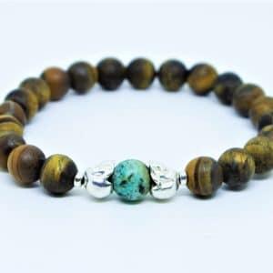 Bracelet Oeil de Tigre dépoli /Turquoise Africaine