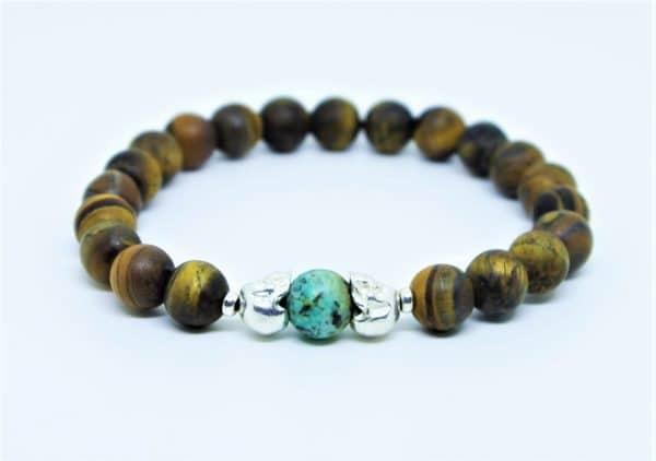 Bracelet oeil de tigre mat, et turquoise africaine