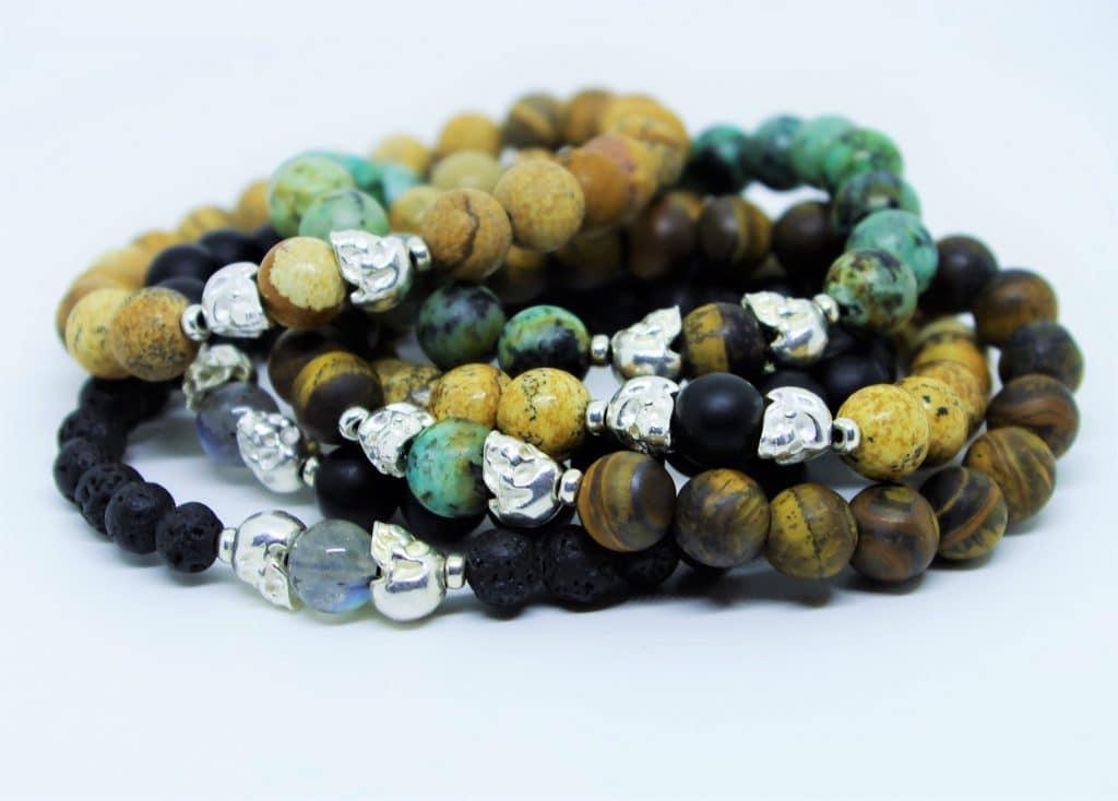 Bracelets pour homme, pierres naturelles et Crânes d'argent