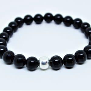Bracelet Tourmaline noire Perle d'argent