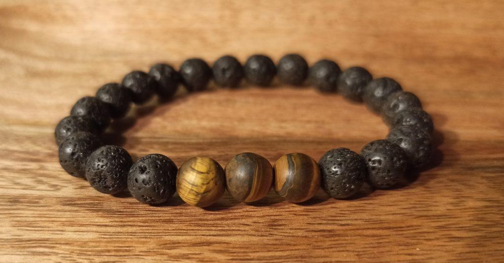 """Bracelet """"Java"""" oeil de tigre mat, pour homme"""