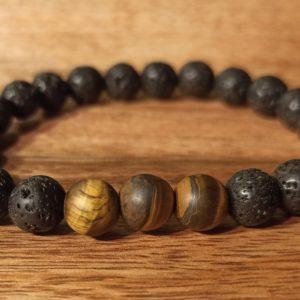 Bracelet «Java» Œil de tigre mat, pour homme