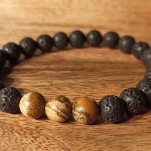 Bracelet «Java» Jaspe Paysage, pour homme