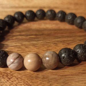 Bracelet «Java» Bois pétrifié, pour homme
