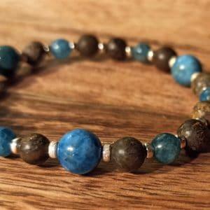 Bracelet «Équilibre» Apatite bronzite argent 925